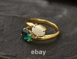 Natural Green Emerald Opal Gemstone Ring Solid 18k Yellow Gold Handmade Ring