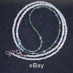 Natural Green Tourmaline and Opal Layering Necklace Wrap Bracelet Solid 14K Gold