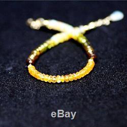 Natural Mandarin Garnet Green Tourmaline Opal Bracelet Solid 14K Gold 14th Anniv