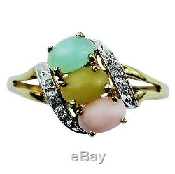 Natural Multi Opal Women Gift Ring Solid Eternity Gold Anniversary Event Jewelry