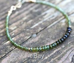 Natural Ombre Green Tourmaline Bracelet 14K Solid Gold October Birthstone 8th An