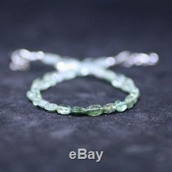 Natural Ombre Green Tourmaline Bracelet Solid 14K White Gold October Birthstone