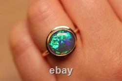 Natural Solid Australian Opal Ring Blue Green Lightning Ridge Opal 9k gold