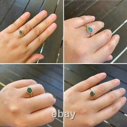 Natural Solid Australian Opal Ring Orange Green On Black Opal 9k gold