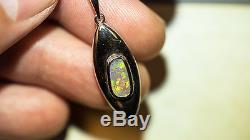 Natural Solid Australian Rare Semi-Black Opal 925 Sterling Silver Pendant