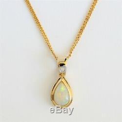 Natural Solid Australian White Light Crystal Opal Pendant 18ct 18k Gold Diamond