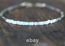 Natural Welo Opal Green to Champagne Sapphire Bracelet Solid 14K Gold 5th 14th