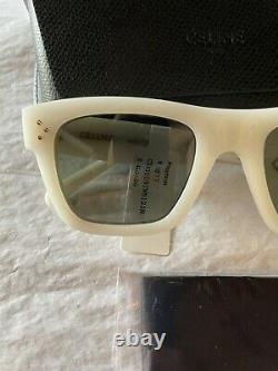 New Celine CL40009i 21N Opal White/Green 51mm Unisex Square Sunglasses