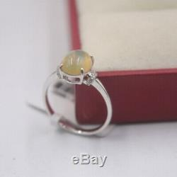 New Solid 18K White Gold with Natural Colorful Opal Ring ON SALE
