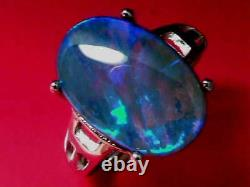 Nice Natural Solid Black Crystal Opal 6.1ct and 2.7g Sterling 925 Silver Ring