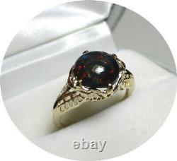 Nice! Solid Black OPAL Ring Reds-Green Lights Art Deco 14k Yellow Gold Mtg