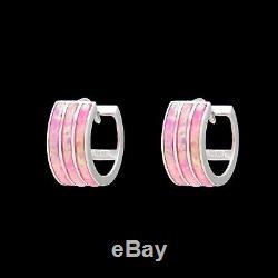 Opal Earrings 14K Solid Gold 3-Row Inlay Huggie Hoops Blue/Green/Red/Pink/Purple