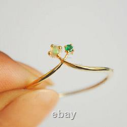 Opal Emerald Gemstone Crown Ring Solid 14k Yellow Gold Handmade Fine Jewelry US7