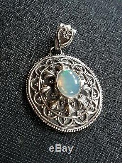 Opal Pendant Etruscan Style Solid Silver Vintage blue with pink and green