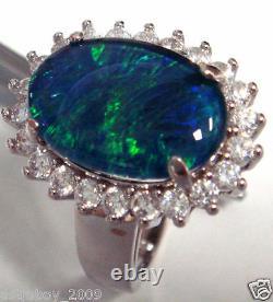 Opal Size 14x10mm Genuine Black Triplet Opal Ring Solid Sterling Silver Free Box
