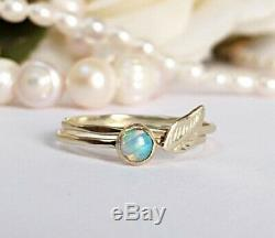 Opal Stone Stackable Rings 14K 18K Yellow Gold Thin Stacking Bands Faceted