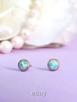 Opal Stud Earrings Solid Gold 14K Tiny Ear Studs October Birthstone