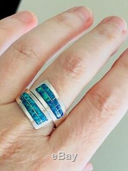 Opal'Wrap Around finger' Ring Sterling Solid 6 Black Blue Green 925 Bypass