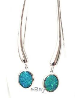 Opals Australia Sterling Silver Opal Drop Earrings Green & Blue Solid Opal