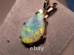 Orange & Green Australian Gem AAA Opal Pendant Solid 14k Yellow Gold