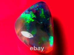 Outstanding Bright Rolling Stunning Color Pattern Solid Black Crystal Opal 9.7ct