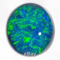 PERFECT AQUA GREEN BLUE 1.78ct 8x7mm SOLID SEMI BLACK OPAL LIGHTNING RIDGE