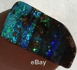 PINSTRIPE! 12ct Solid Boulder Opal BLUE & GREEN Freeform Queensland