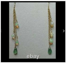 Pear Emerald Ethiopian fire opal briolette solid 14k gold dangle earrings