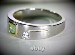 Precious Opal. 42ct Platinum Finish Solid 925 Sterling Silver Mens Ring Size 10