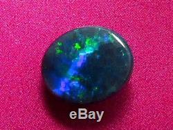Pretty Good Quality Dark Blue-Green Colour Pattern Solid Black Opal 0.98 carat