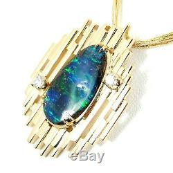 Purple Blue Green Solid Opal + Diamonds & 18K Solid Gold Pendant Necklace #P4946