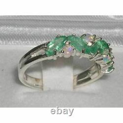 Quality Solid Sterling Silver Natural Emerald & Opal Eternity Anniversary Ring