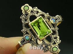 R301 Genuine 9K, 10K, 14K or 18K Solid Gold Natural Peridot & Opal Ornate Ring