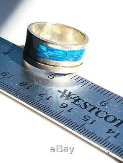 RARE SZ 12 HEAVY SOLID Men's Opal Ring BLUE GREEN Black WIDE BAND Pipe Cut