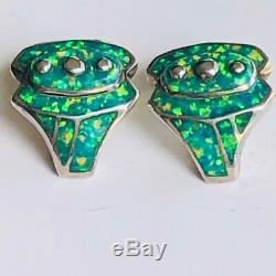 RARE Vinatge Solid Opal Super Bright Brazilian Green Art Deco Earrings signed