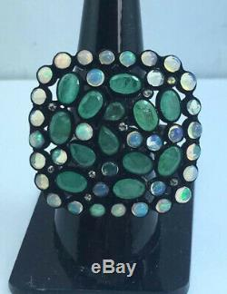 Radiant Diamond, Opal, Emerald Gems Antic Jewelry Ring 925 Sterling Silver Rings