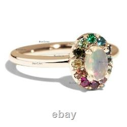 Real Ethiopian Opal Gemstone Ring Multi Sapphire Solid 14k Yellow Gold Jewelry