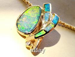 Red Green AUSTRALIAN Opal Diamond solid 14k Gold Ladies Pendant $5,400 ENHANCER