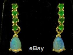 S E038 Genuine 9K Solid Yellow Gold NATURAL Emerald & Opal DROP Stud Earrings