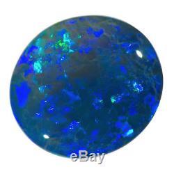 SPARKLING BLUE-GREEN 3.78ct 12x11mm SOLID BLACK CRYSTAL OPAL LIGHTNING RIDGE