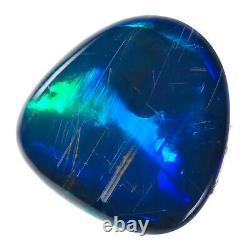 SPECTACULAR SAPPHIRE BLUE GREEN 2.39ct 10x9mm SOLID BLACK OPAL LIGHTNING RIDGE