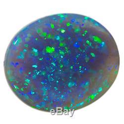 SPECTACULAR SPARKLING BLUE-GREEN 5.56ct 13x11mm SOLID BLACK OPAL LIGHTNING RIDGE