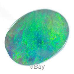 STUNNING 7.01ct GREEN BLUE AQUA 14x10mm SOLID SEMI BLACK OPAL LIGHTNING RIDGE