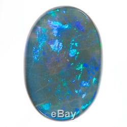 SUPERB 5.26ct GREEN BLUE 15x10mm SOLID SEMI BLACK OPAL LIGHTNING RIDGE