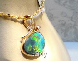 SWAN AUSTRALIAN ELECTRIC GREEN Opal Solid 14k Gold Pendant Bright Diamond $2,8