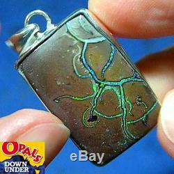 Silver Beautiful Greens 44ct Natural Aust Solid Yowah Boulder Opal Pendant