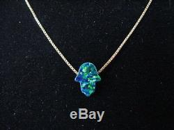 Small Dark Green Opal Hamsa Hand Pendant Necklace on Solid 14K Yellow Gold Chain