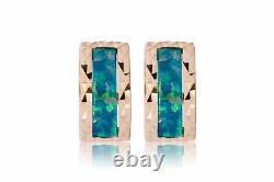 Solid 14K Yellow Gold Diamond Cut Multi-Color Fire Opal Huggie Hoop Earrings