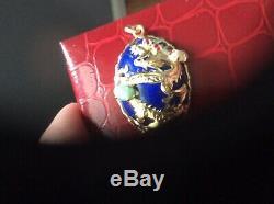 Solid 14K Yellow Gold, Lapis, Ruby, Opal, & Green Jade Dragon, Estate Pendant NR