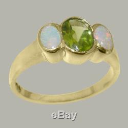 Solid 14k Yellow Gold Natural Peridot & Opal Womens Trilogy Ring Sizes 4 to 12